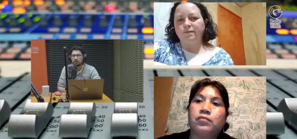 Captura de pantalla del programa en Radio UACh donde aparece las invitadas Sara Ganga, presidenta Agrupación de Productores Agroecológicos Ñuke Mapu y Marisol Quipainao, presidenta Agrupación FolinMapu